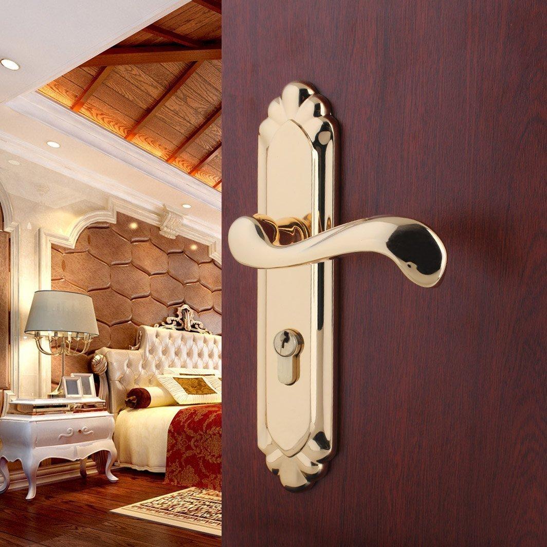 美式铜纯欧式全铜锁实木门锁具卧室真金房门豪华别墅室内机械门锁