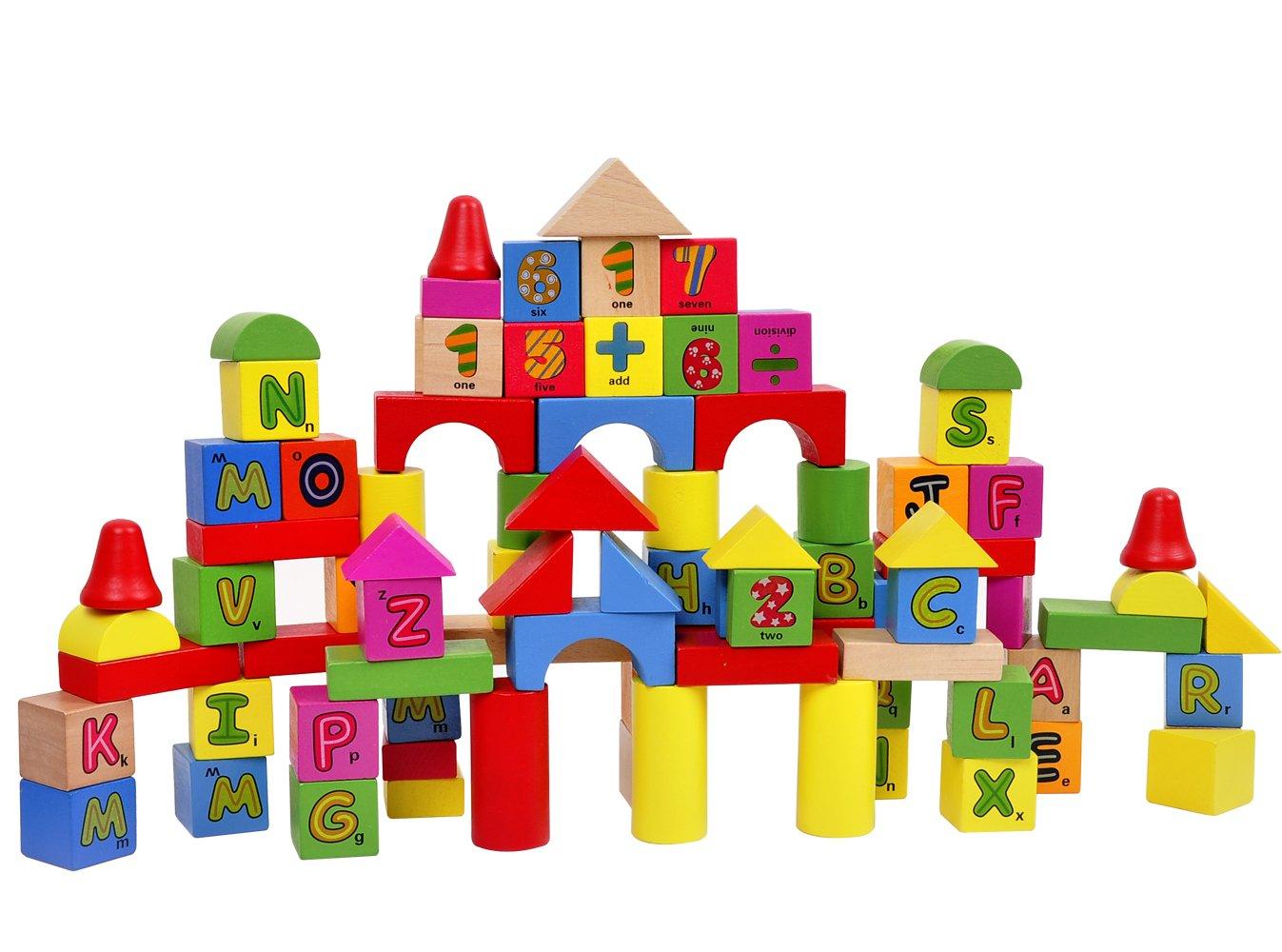 趣萌 儿童益智木制玩具 宝宝早教智力拼装 动物数字字母桶装积木1-2-3