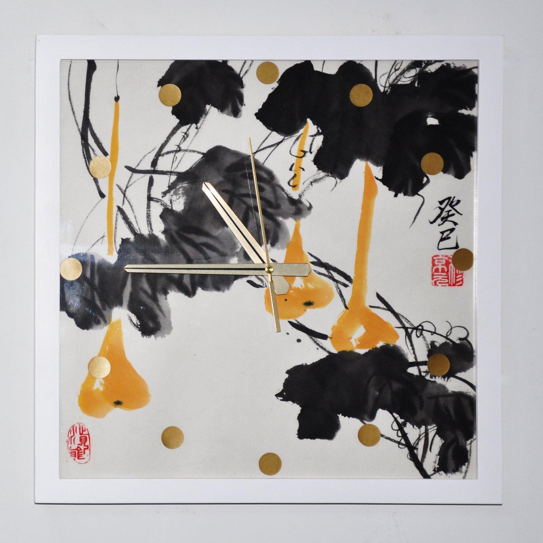 y绮影手绘挂钟方形国画02383812(葫芦)
