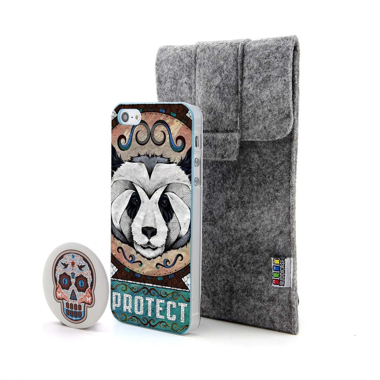 熊猫和保护 字母3d动物浮雕设计风格 塑料硬手机壳 手机套 适用于