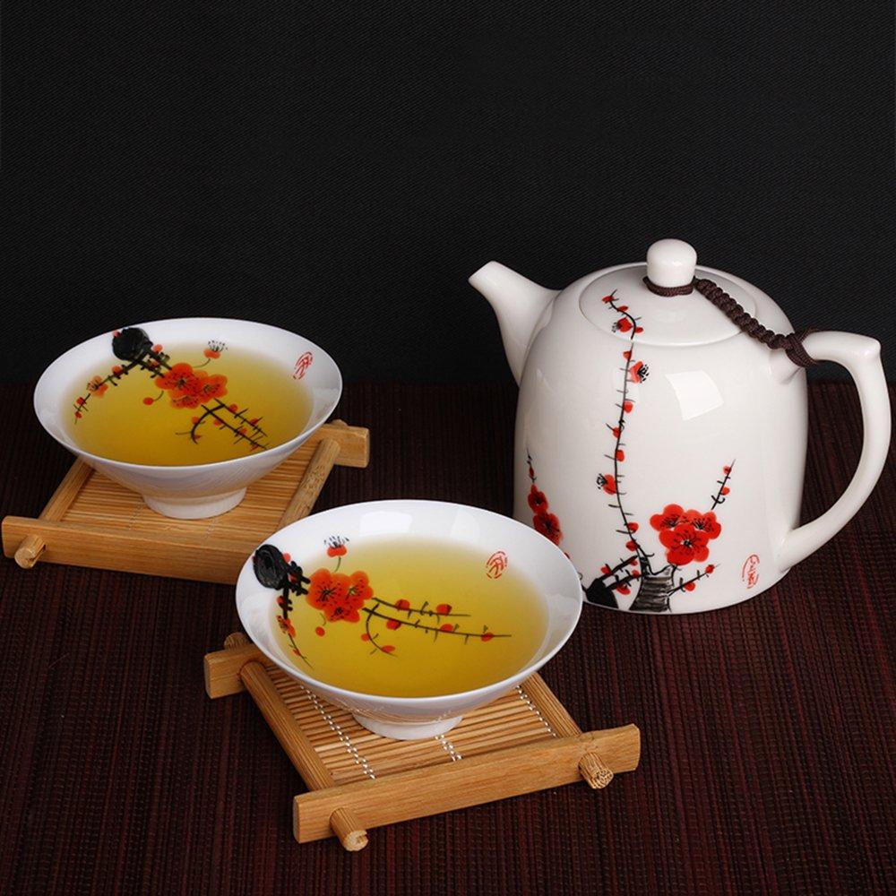 陶立方 陶瓷茶壶德化白瓷手绘壶斗笠杯功夫茶具一壶两