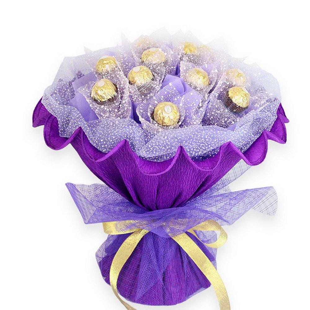 花束节日情人节爱情生日七夕圣诞节情人节礼物送女生老婆朋友 (紫色款
