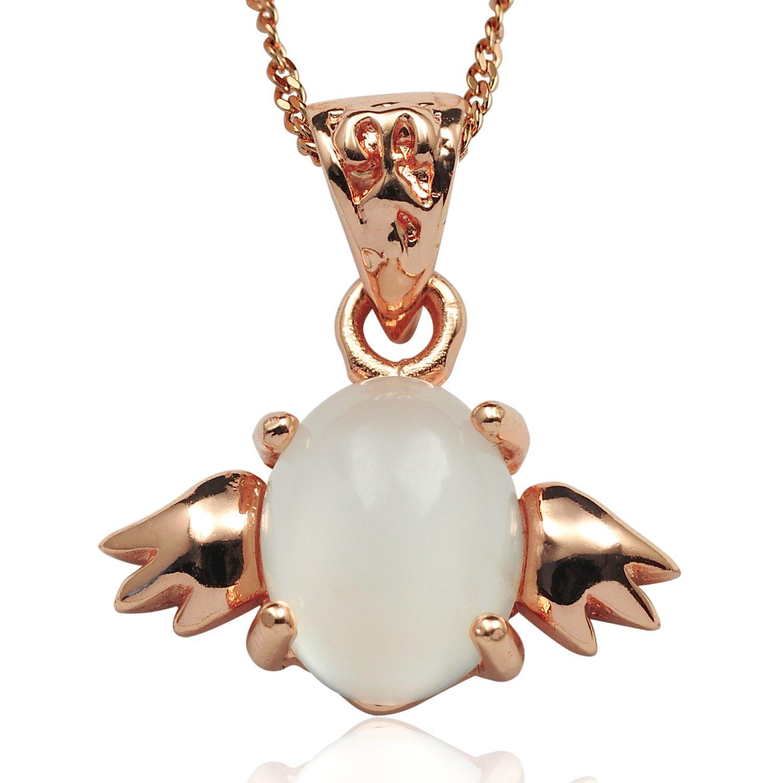 曼丽翠 s925银小天使月光石吊坠-天使之翼(赠价值88元