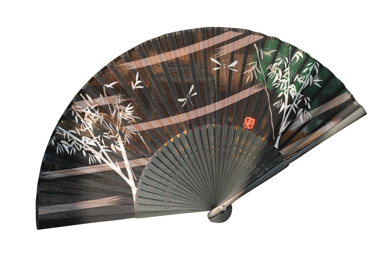 自然の风 日本和蕙堂 蜻蜓竹子手绘版精美棉布男女士扇子折扇送女朋友