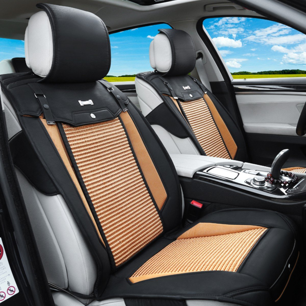 海尚汽车坐垫四季新款 汽车夏季座垫四季通用 皮革冰丝 车垫套4-17