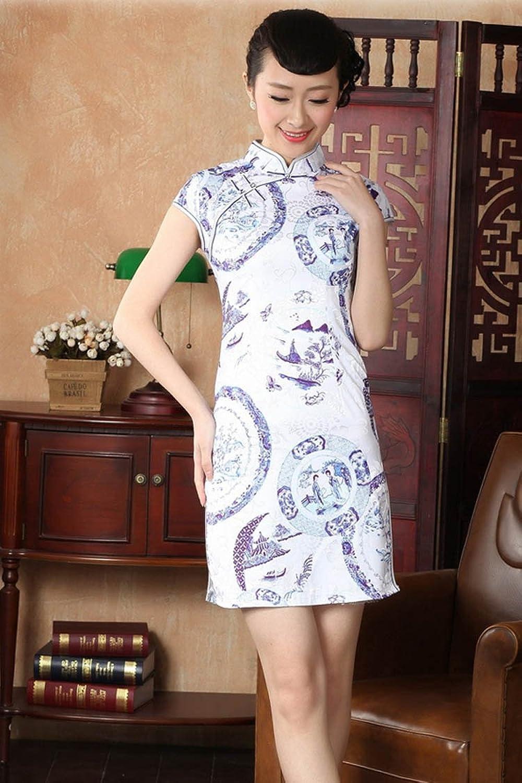 玖蔓姿 全棉短袖无领花边改良印花短旗袍连衣裙短裙d0226