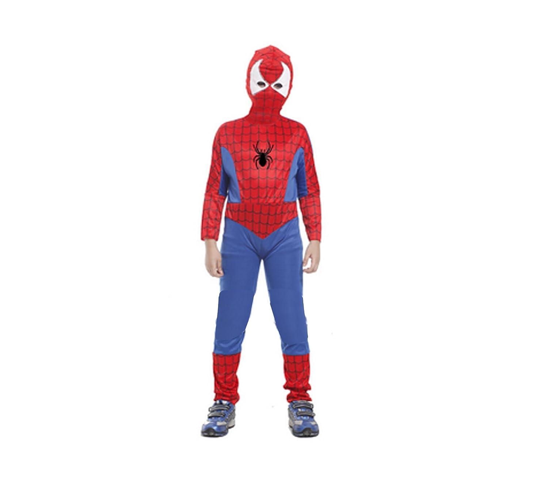 麒盈 儿童节儿童演出服 spider hero 蜘蛛侠套装(连体服 头套)m(110