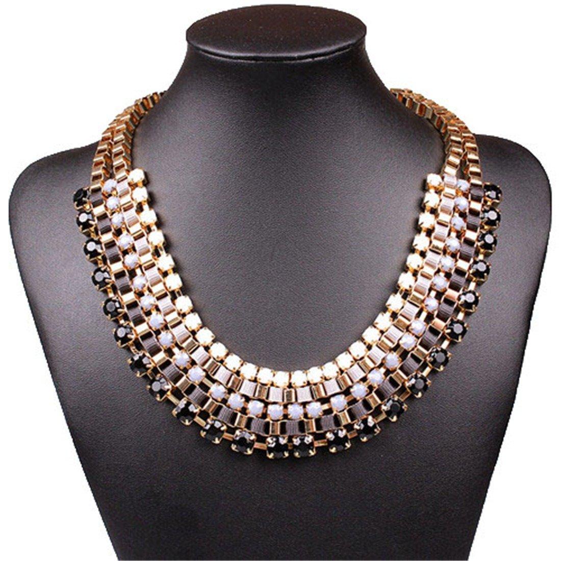 启运 同款 时尚流行手工编线夹钻多色项链 黑色