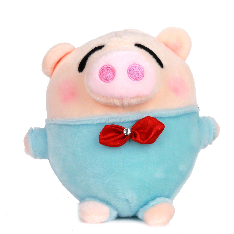 酷玩部落 毛绒玩偶系列-领结麦兜猪 浅蓝色 kw-h069 毛绒玩具 布偶