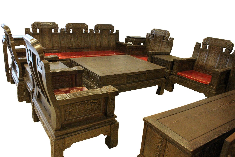 红木家具 100%实木鸡翅木象头福禄寿喜10件套沙发