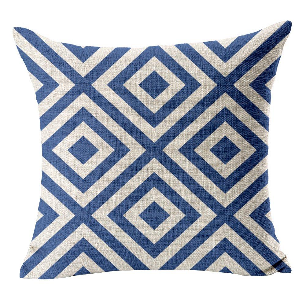 沃之沃 彩色几何线条色块抽象抱枕 车用 高品质棉麻靠枕靠垫(不含芯)