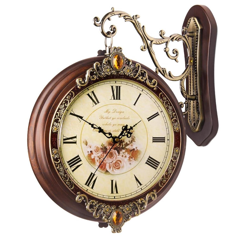 汉时钟表 欧式双面挂钟客厅静音时钟个性时尚创意石英