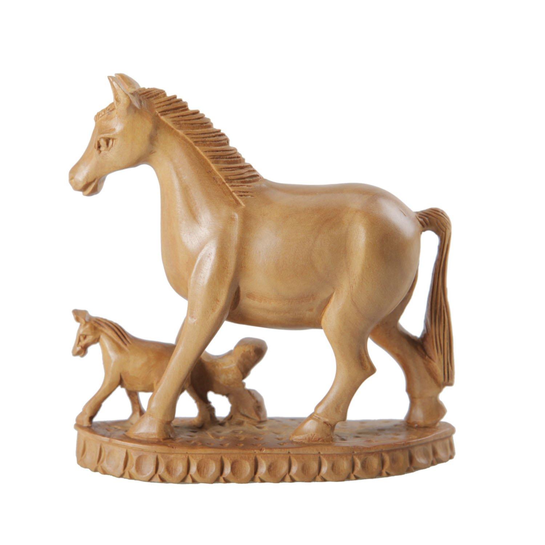 者梅 印度原装进口 山檀 木雕母子马 摆件家居装饰乔迁礼品 3.
