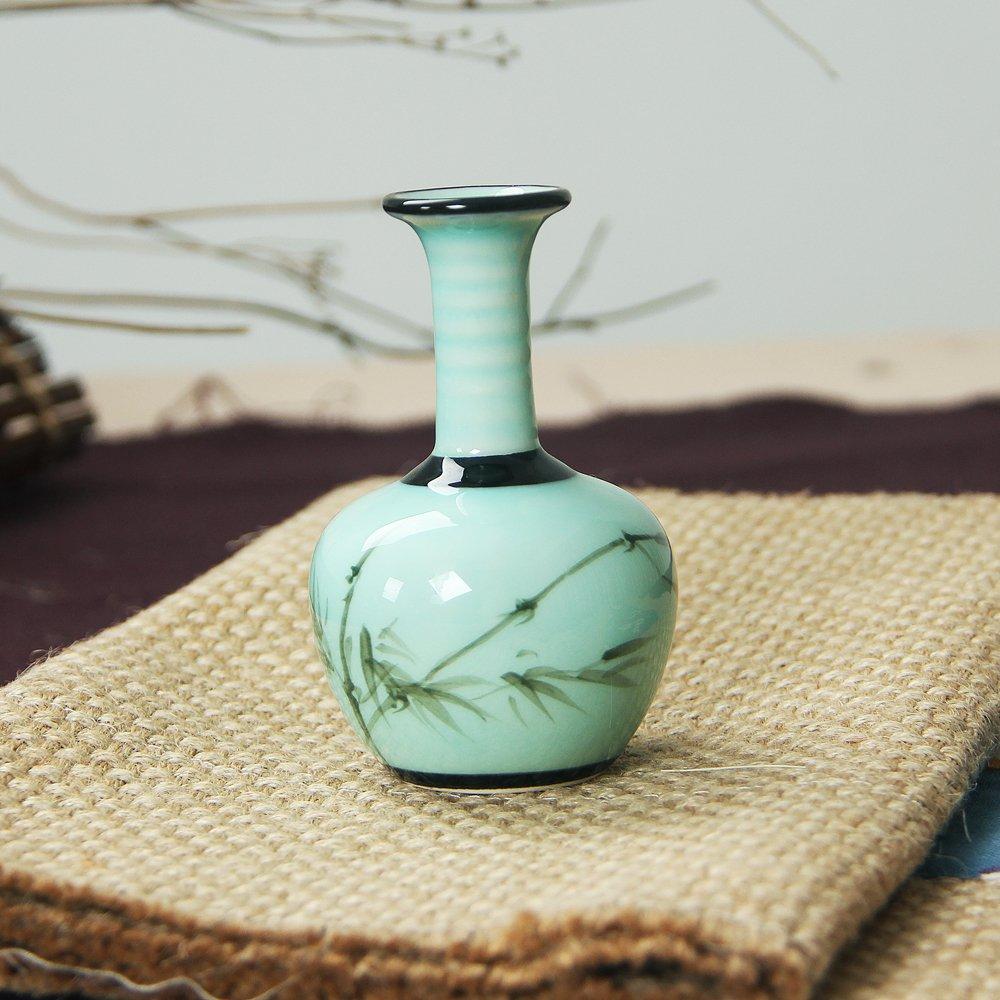 銮瓷 欧式陶瓷小花瓶 青瓷手绘美人瓶 工艺瓷器花插 家居办公装饰品