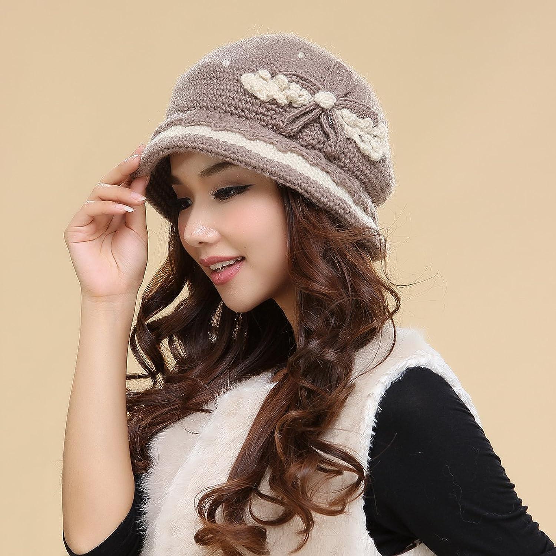 夏尔贝洛女士冬季韩版双层保暖妈妈帽毛线帽羊毛帽
