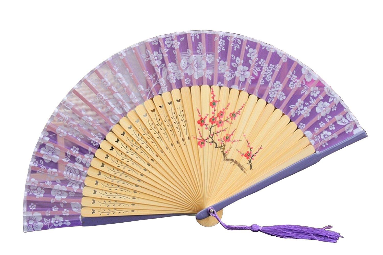 自然の风 日本和蕙堂 樱花扇骨冲花工艺 手绘梅花男女折扇扇子送女