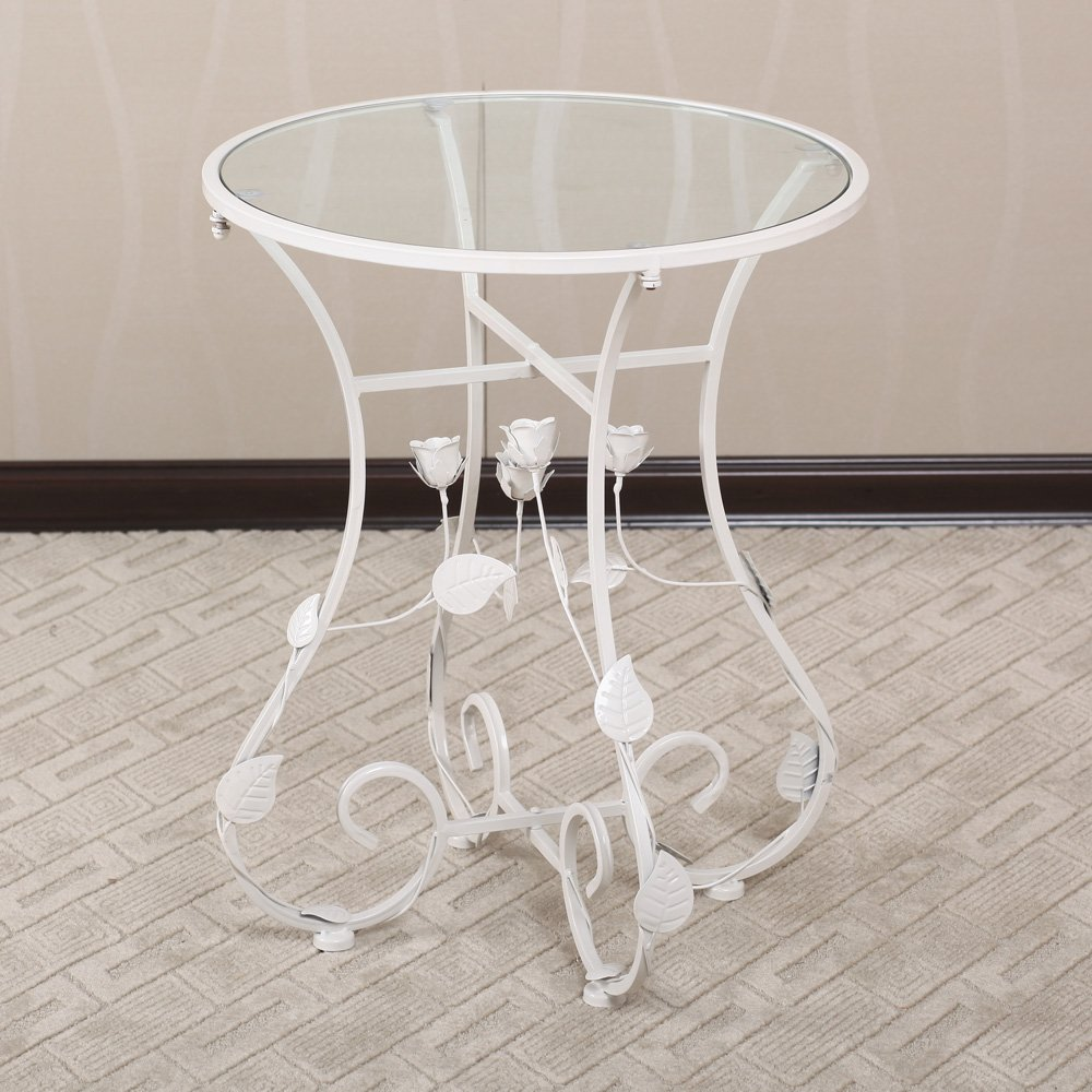 果漫 欧式田园铁艺桌子玻璃小圆桌边角几 白色 50*50*
