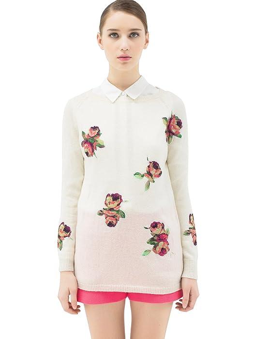 欧式复古宫廷玫瑰元素套头羊毛衫毛衣 女式 本白 xl(170/92a) 113430f