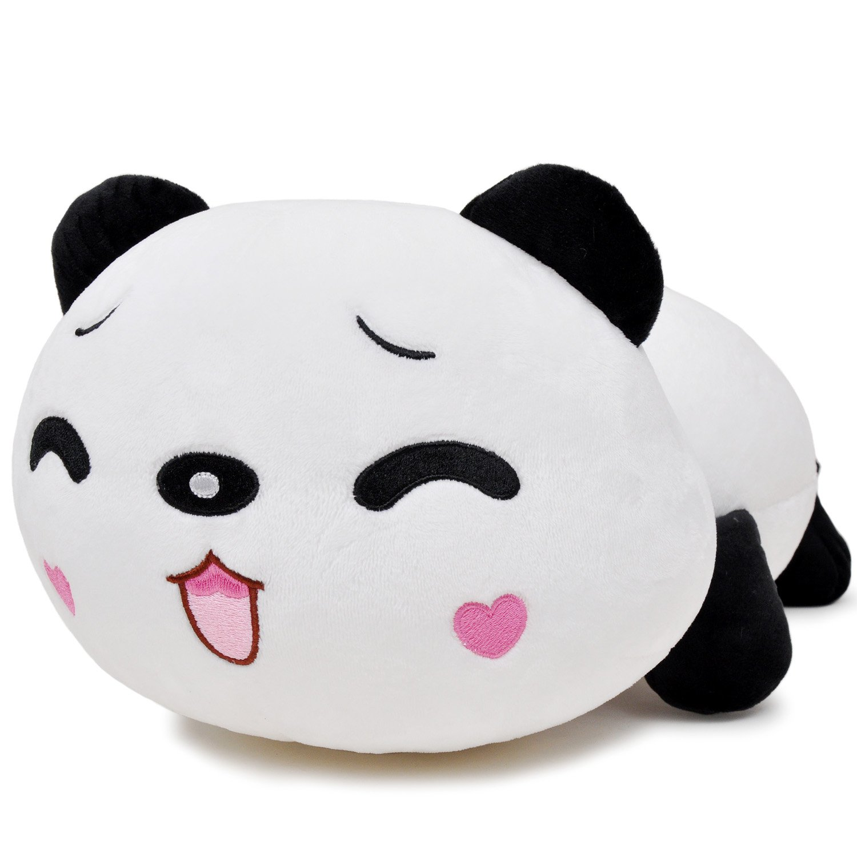 瑞奇比蒂 毛绒粒子玩偶 趴趴熊猫抱枕 眯眼rq-20 大号