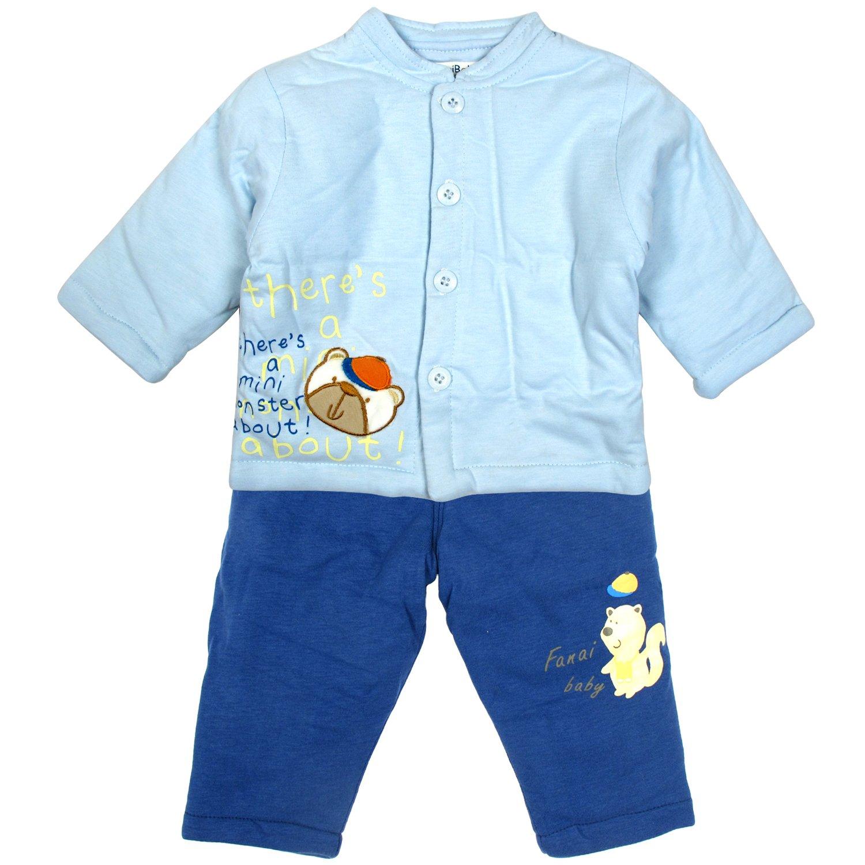 凡爱宝贝 小花熊棉袄对襟套 婴儿 蓝色 66 fbafb1054