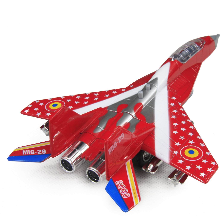 玩具车玩具飞机合金回力飞机模型 合金苏式战斗机 带灯 2种声效 (红色