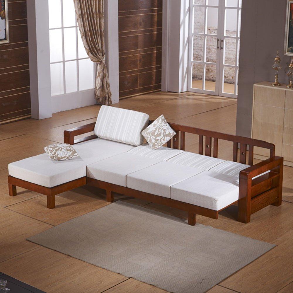 御品工匠 全实木沙发 贵妃位组合沙发 白蜡木高档实木沙发 乌金木色