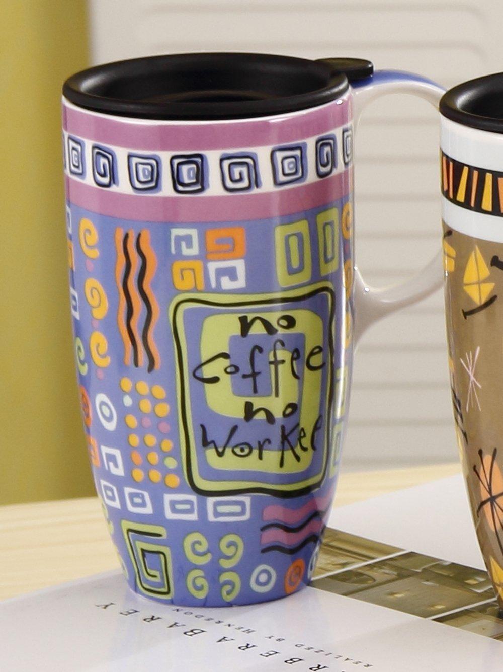 个性手绘涂鸦印象派油画系列星巴克风咖啡杯 大容量马克杯 欧式彩绘