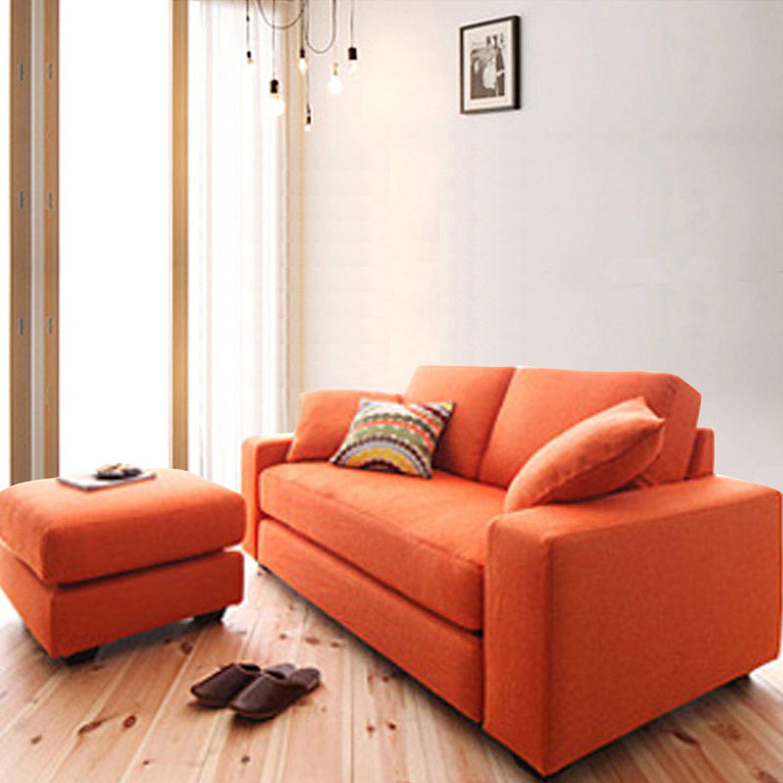 择木宜居 布艺沙发转角沙发组合客厅家具小户型简约休闲沙发 橙色