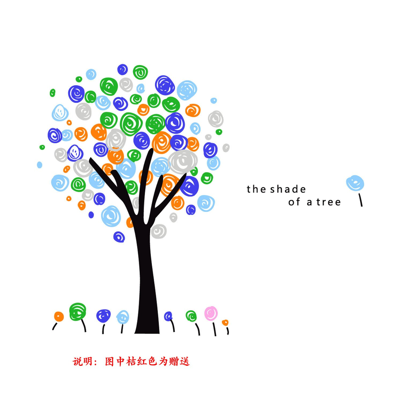 莫多拉 时尚背景贴 彩色树(黑树 绿 大号树170cm)