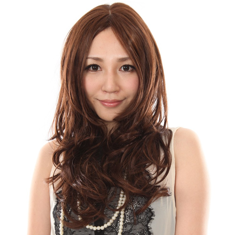 私元气 假发女 长卷发 斜刘海 棕色大波浪假发 时尚女士假发套 日系图片