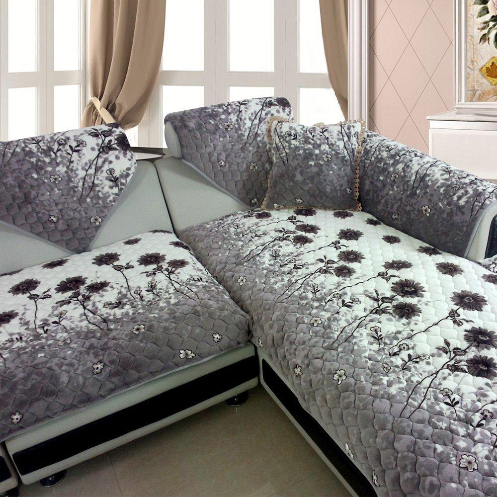 西子纱欧式花朵毛绒防滑沙发垫布艺坐垫飘窗垫沙发套