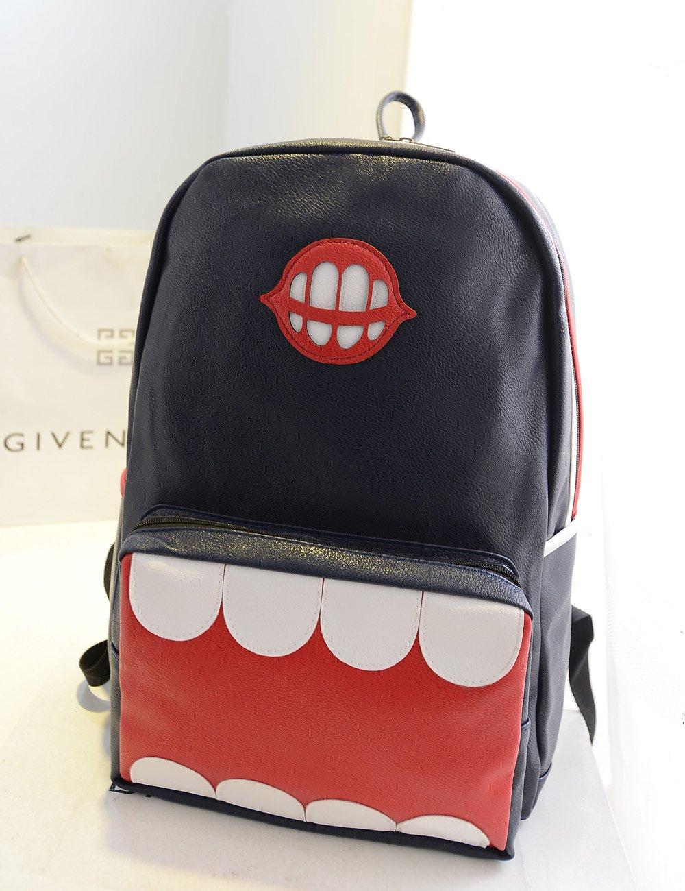 复古休闲韩版搞怪大牙齿双肩包-服饰箱包