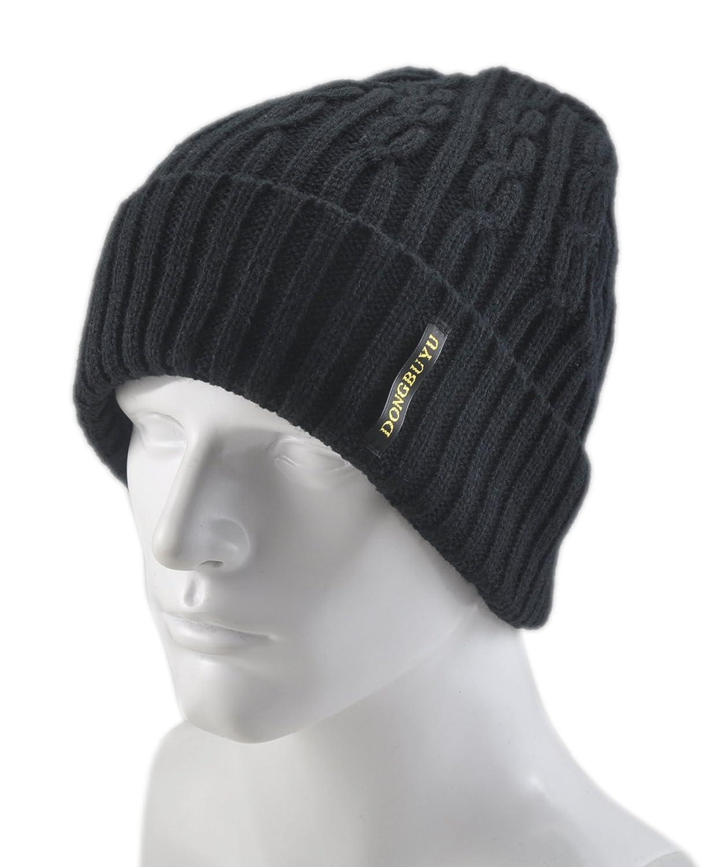 冬布羽 男式 毛线编织双层翻边护耳套头滑雪帽 3003 墨黑 均码