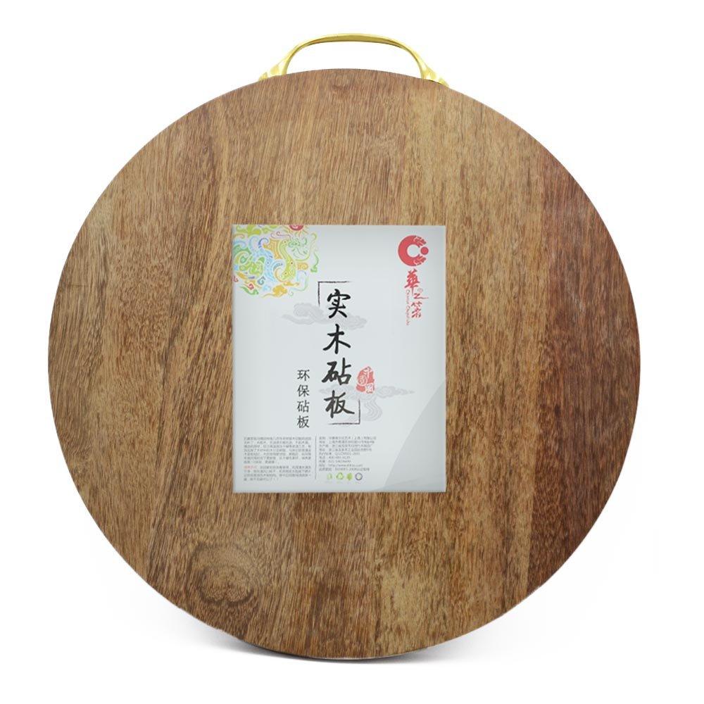 华之箸 南非实木圆形鸡翅木砧板(38*38*3.0cm)