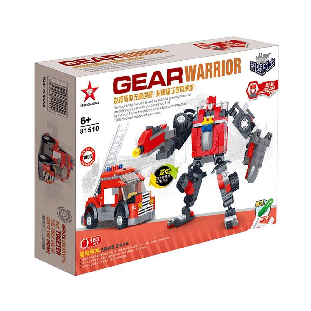 星钻 积变战士 机器人 齿轮 乐高式积木 消防车 拼装玩具