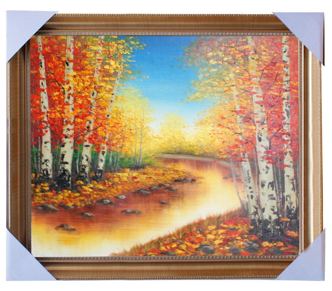 eapey 一品廊 手绘油画 风景油画 秋季白桦林 《金秋》