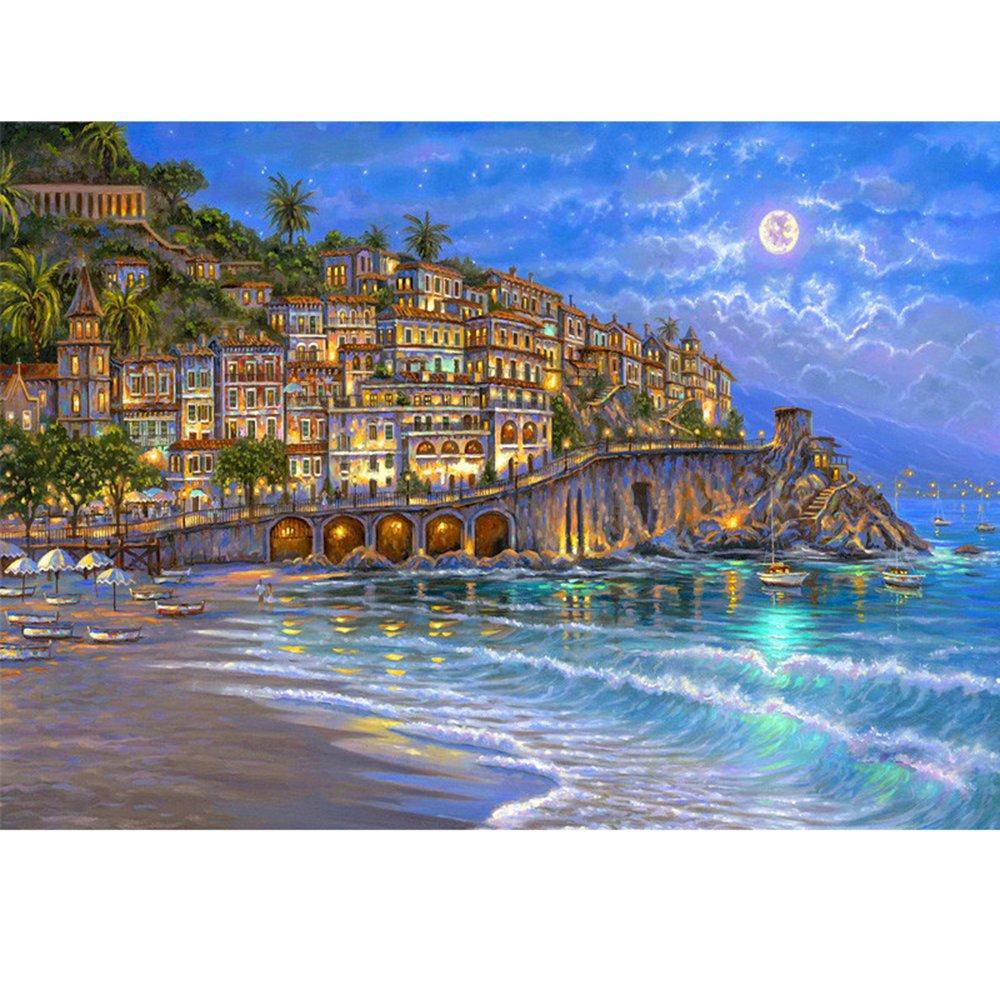 木质拼图1000片 拼图 《浪漫小镇夜色》 高档拼图 装饰画 风景画