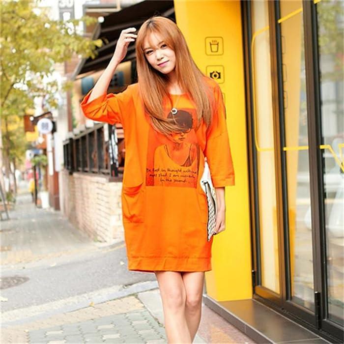 韩版女生连衣裙8312 橙色 l