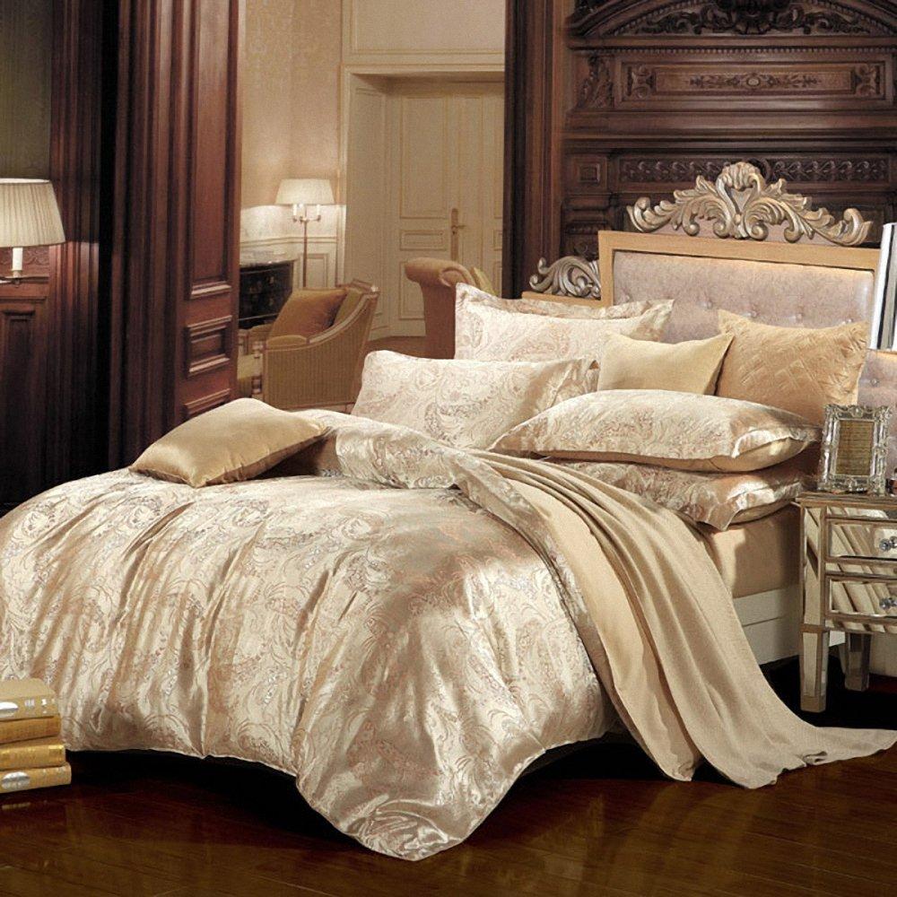 老有所依 多款热销花型婚庆四件套 欧式100%全棉贡缎提花四件套 纯棉
