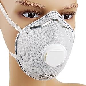 MASkin 617510 活性炭+呼气阀型 头戴式 杯型防护口罩 10只装 (美标N95级 去除PM2.5粒子) 69元包邮(可满200-30 低至5.9元/个)的图片