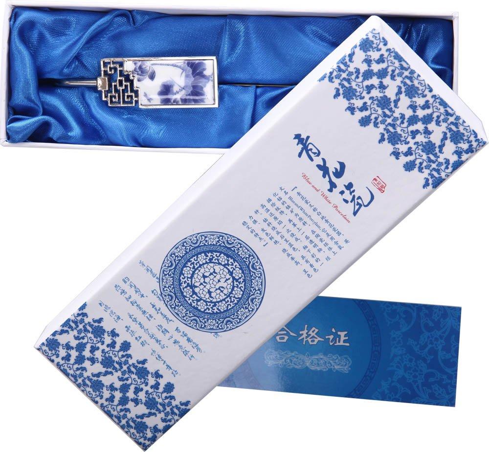 文渊阁 中国风特色礼品送老外 青花瓷书签 古典金属书签 外事出国