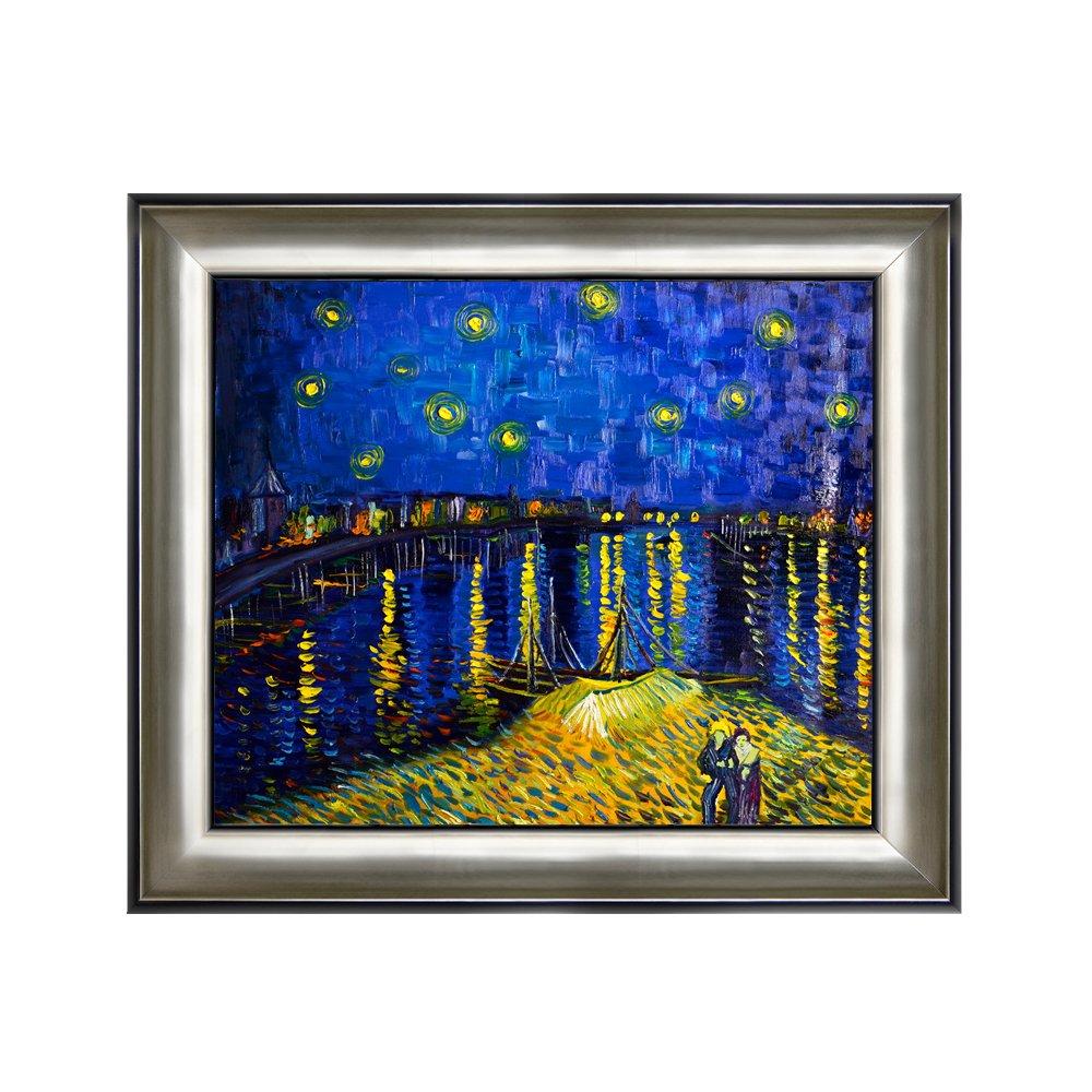 丹青在线 纯手绘油画 客厅装饰画 有框画 挂画 《罗纳河上的星夜》