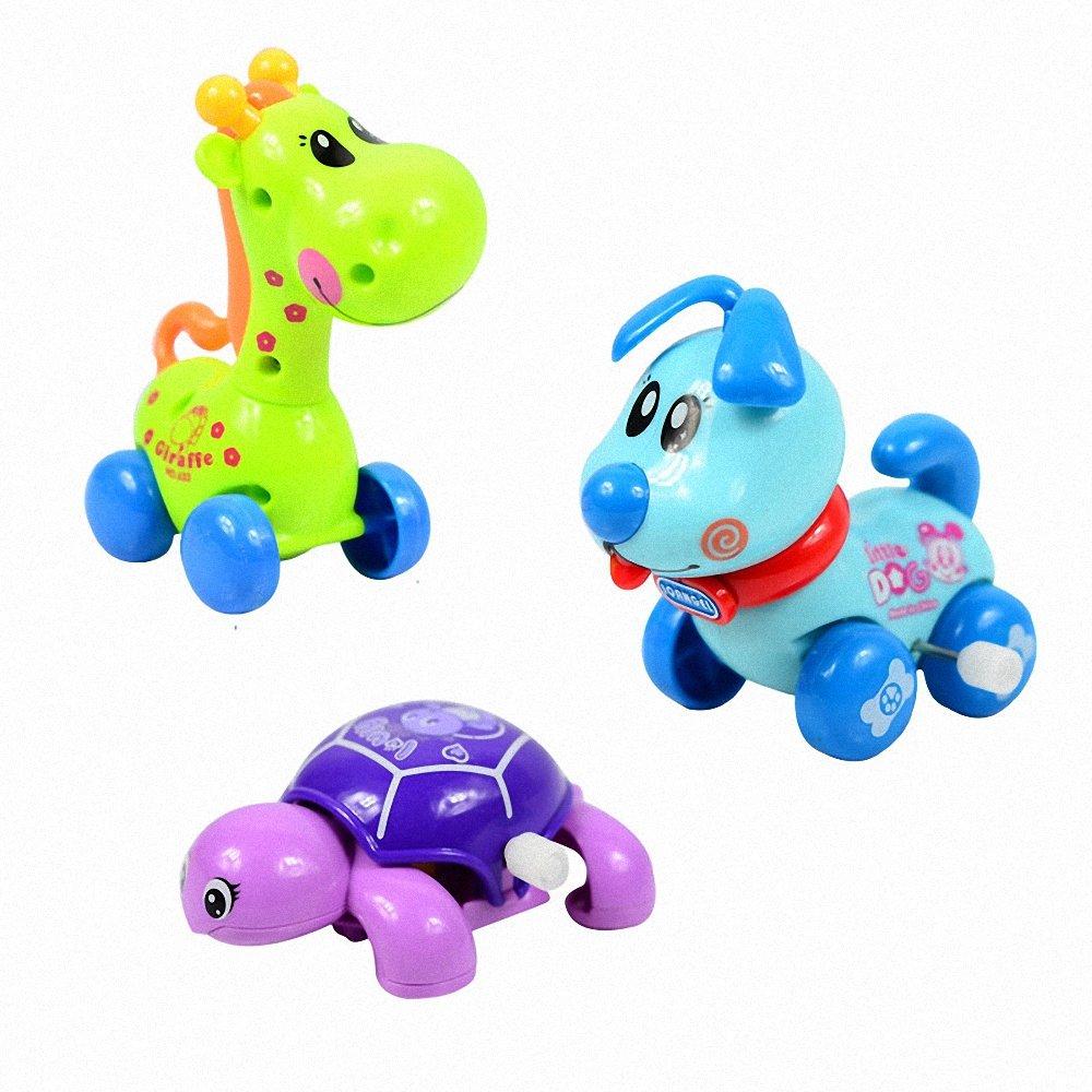 幕和 发条组合三件套长颈鹿乌龟小狗上链玩具