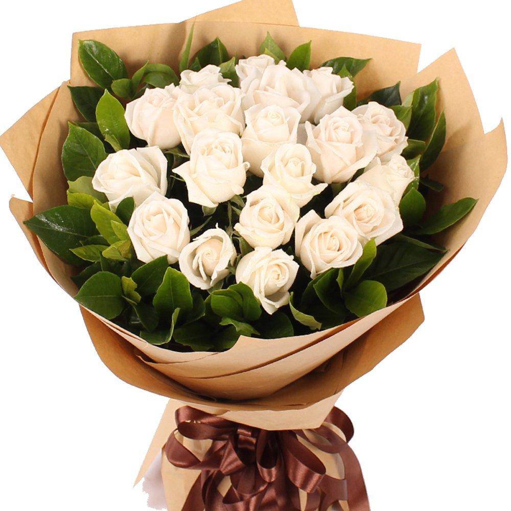 花柚送花鲜花速递19朵白全国鲜花速递南京鲜花店女生石家庄东莞长春玫瑰美音图片