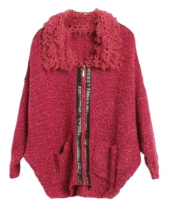 领拼皮针织衫 韩版宽松毛衣 外套 女粗针厚长袖拉链开衫 1339#-1 梅红