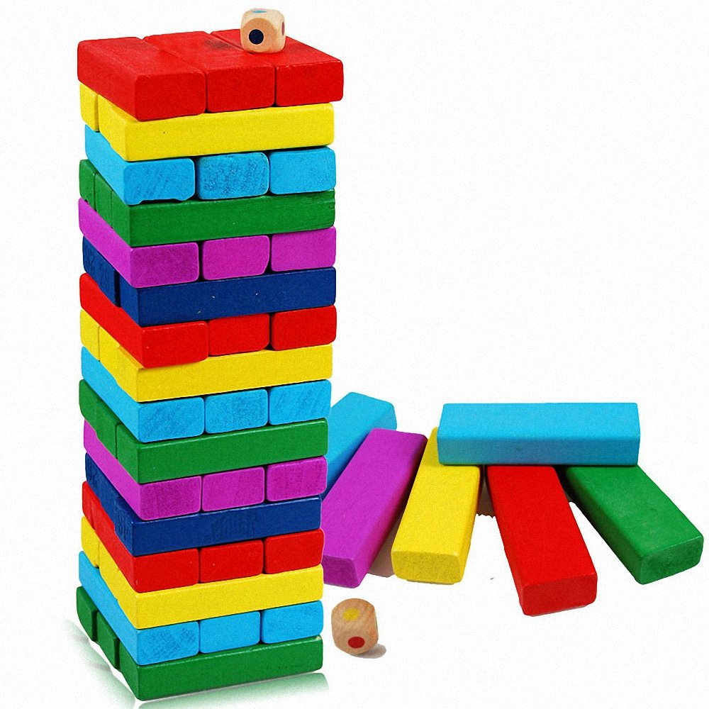 幕和 彩色叠叠高玩具48块层层叠积木