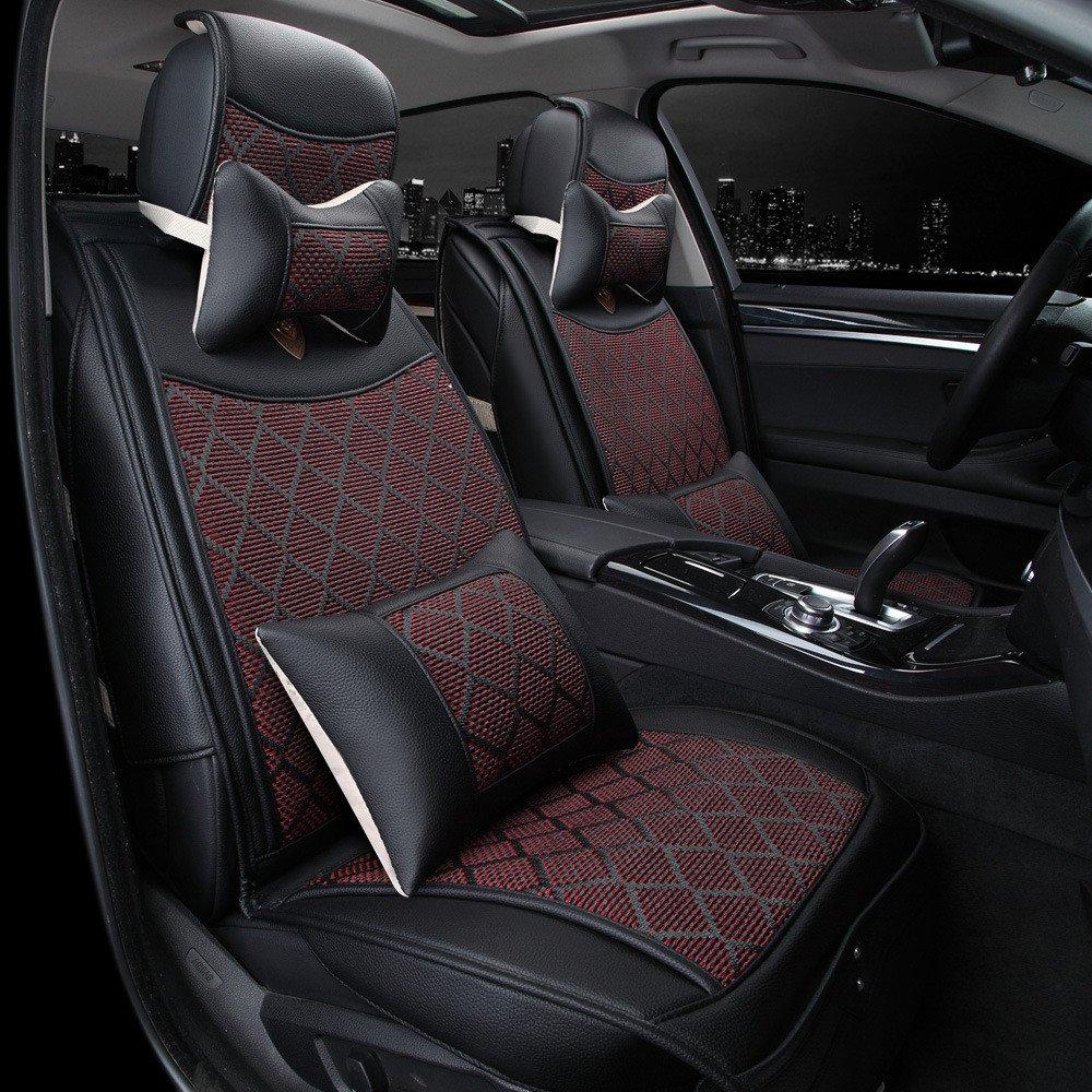汽车坐垫 新款皮革垫 透气编织冰丝坐垫