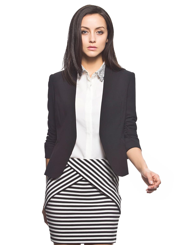 etam 艾格 女式 纯色v领修身西装外套 14012109195