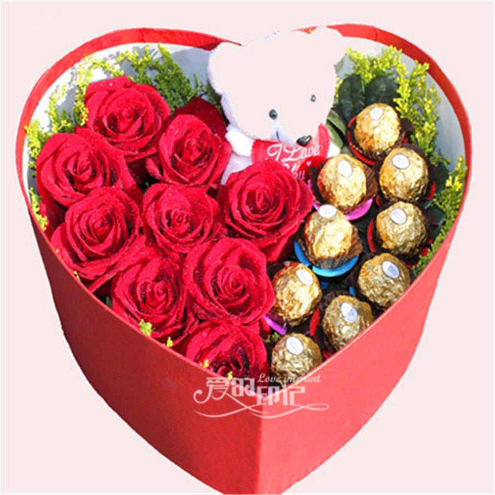 9枝红玫瑰花束 深圳红玫瑰花束加巧克力心形礼盒包装
