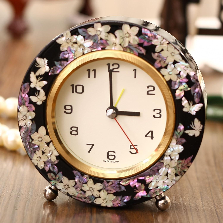 锦贝传说 韩国时尚创意贝壳镶嵌纯手工制作钟表k-001